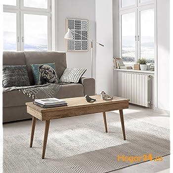 Hogar24 Table Basse Relevable Design Vintage En Bois Massif Naturel