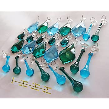 25 Turquoise Teal Blue Chandelier Drops Transparent Chandelier Drops Parts Cut Glass Crystals Droplets Beads Christmas Tree Ornaments Vintage Chic Wedding Wishing Charm Decorations Prisms Art Deco