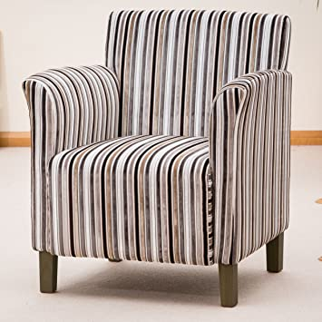 Lovely Sofa Collection Brand New Vivaldi Striped Fabric Tub Chair/Armchair  Seating, Fabric, Grey