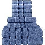 Utopia Towels - Juego de Toallas Azul Eléctrico 8 - Pieza, Toallas de Rayas de Viscosa - 600 gsm Ring Spun de algodón - Toall