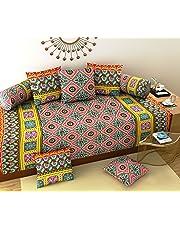 Daivik Diwan Set- Heavy Cotton Fabric Design Diwan Bedsheet Set of 8 Pieces for Living Room- Multi Color