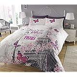 Sleepdown Paris Romance Parure de lit avec Housse de Couette et taie d'oreiller Impression numérique Lit Simple Double King S