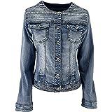 JOPHY & CO. Giacca Jeans Denim Donna Corta Cotone senza Colletto con Brillanti e Tasche (cod. JC001)