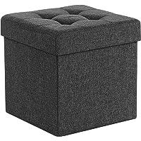 SONGMICS Sitzhocker mit Stauraum, Sitzwürfel mit Deckel, Sitztruhe, Aufbewahrungsbox, faltbar, max. statische…