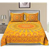 UniqChoice Cotton Bedsheet with 2 Pillow Cover - Double, Yellow