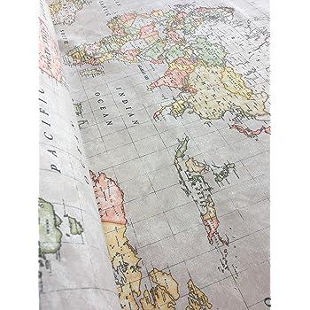 Beige world map print designer cotton fabric material for curtain beige world map print designer cotton fabric material for curtain upholstery 140cm wide sold gumiabroncs Images