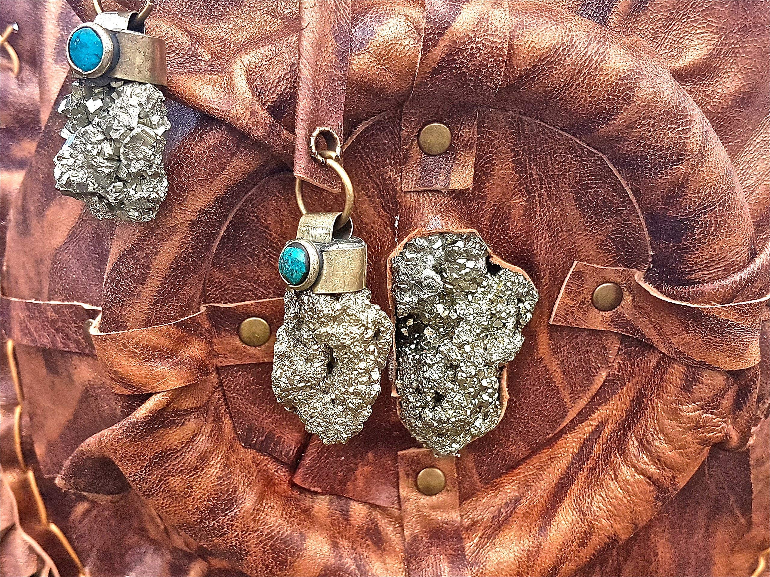 Brown leather bag with fringes and some pyrite stones. Bohemian, hippie, ethnic,boho. - handmade-bags