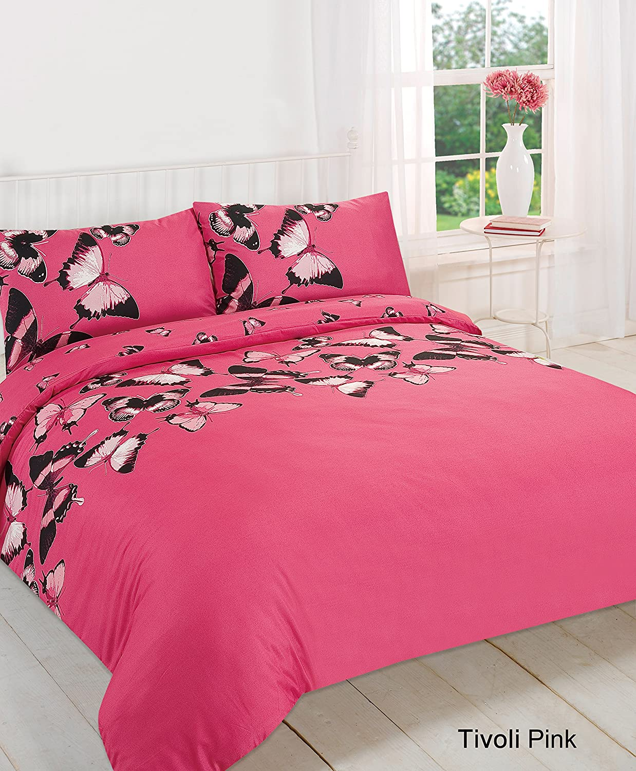 Pink and black bedding - Hot Pink Tivoli Butterfly Duvet Quilt Cover Pillow Case Bedding Set Double Size Amazon Co Uk Kitchen Home