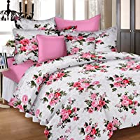 Ahmedabad Cotton Double Duvet Cover with Zipper - Pink and White