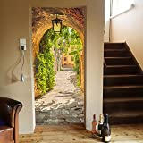 murimage Deurbehang Gasse 86 x 200 cm inclusief lijm doorgang straat romantische lantaarn Toscane behang fotobehang