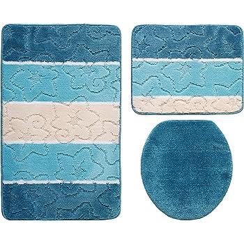 delfin badgarnitur 3 tlg set 55x85 cm blau wc vorleger ohne ausschnitt gepr ft nach oeko tex. Black Bedroom Furniture Sets. Home Design Ideas
