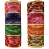 ZULKA Get your traditions Glass and Jari pattern Bangles set for Women/Girls, Pack of 108 Bangles
