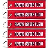 Porte-clé avec inscription«REMOVE BEFORE FLIGHT»-Pack de 5