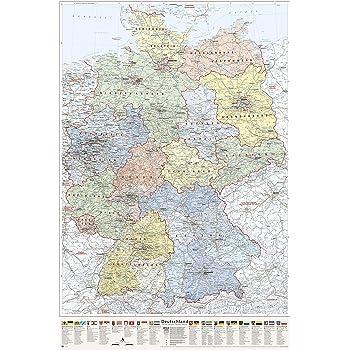 karte der bundesländer J.Bauer Karten Deutschland Karte politisch (Bundesländer), Poster  karte der bundesländer