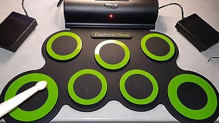 Kacsoo Batterie /Électronique Drum Set Portable Electronique Roll Up Tambour Kit Connexion sans fil Bluetooth avec Baguette de Tambour P/édale pour les D/ébutants les Enfants Cadeau de No/ël