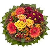 """Dominik Blumen und Pflanzen, Blumenstrauß """"Füllhorn"""" mit orangen Rosen und Germini"""