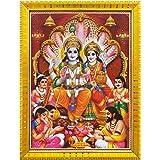 Koshtak Vishnu laxmi ji with sheshnag Giving Blessing Photo Frame with Laminated Poster for puja Room Temple Worship/Wall Han