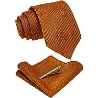 JEMYGINS Cravatta Uomo Vintage Cotone Scacchi Cravatta Multicolore con Fazzoletto e Fermacravatta