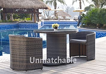 3pc rattan foldaway garden furniture set in 2 colours includes 2 foldaway chairs glass