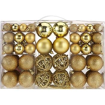 Amazon De 100 Weihnachtskugeln Gold Glanzend Glitzernd Matt