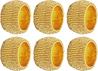"""Pack of 6 - Round Glass Beaded Decorative Golden Silver Color Napkin Ring Holder For Dining Table - 2.5"""""""