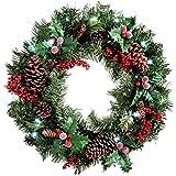 WeRChristmas - Ghirlanda natalizia decorativa, con pigne e bacche, illuminata da 20 LED, luce bianca, diametro: 60 cm