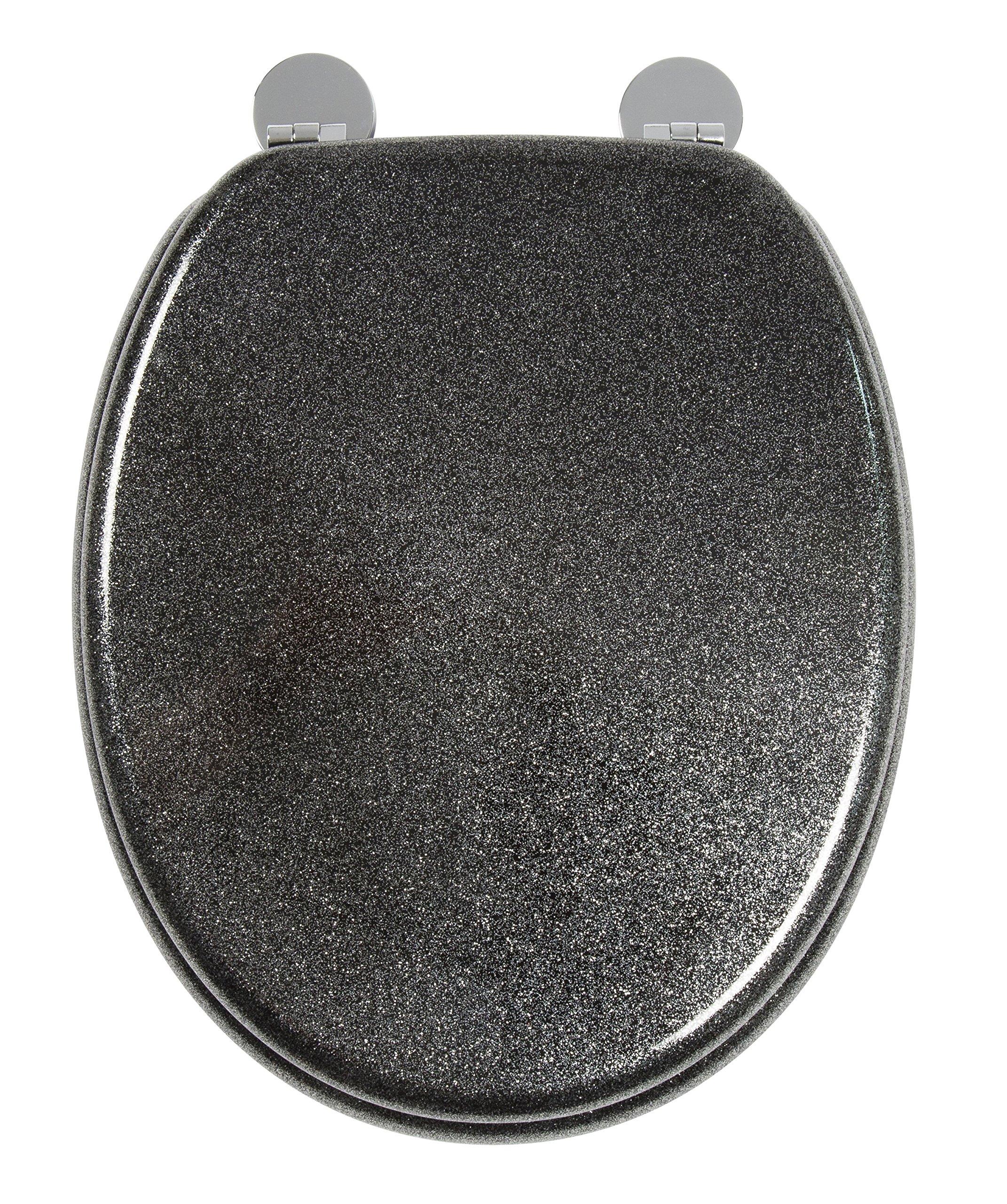 croydex paillettes noir abattant de wc bois noir 44 5 x 38 x 6 cm inspid co. Black Bedroom Furniture Sets. Home Design Ideas