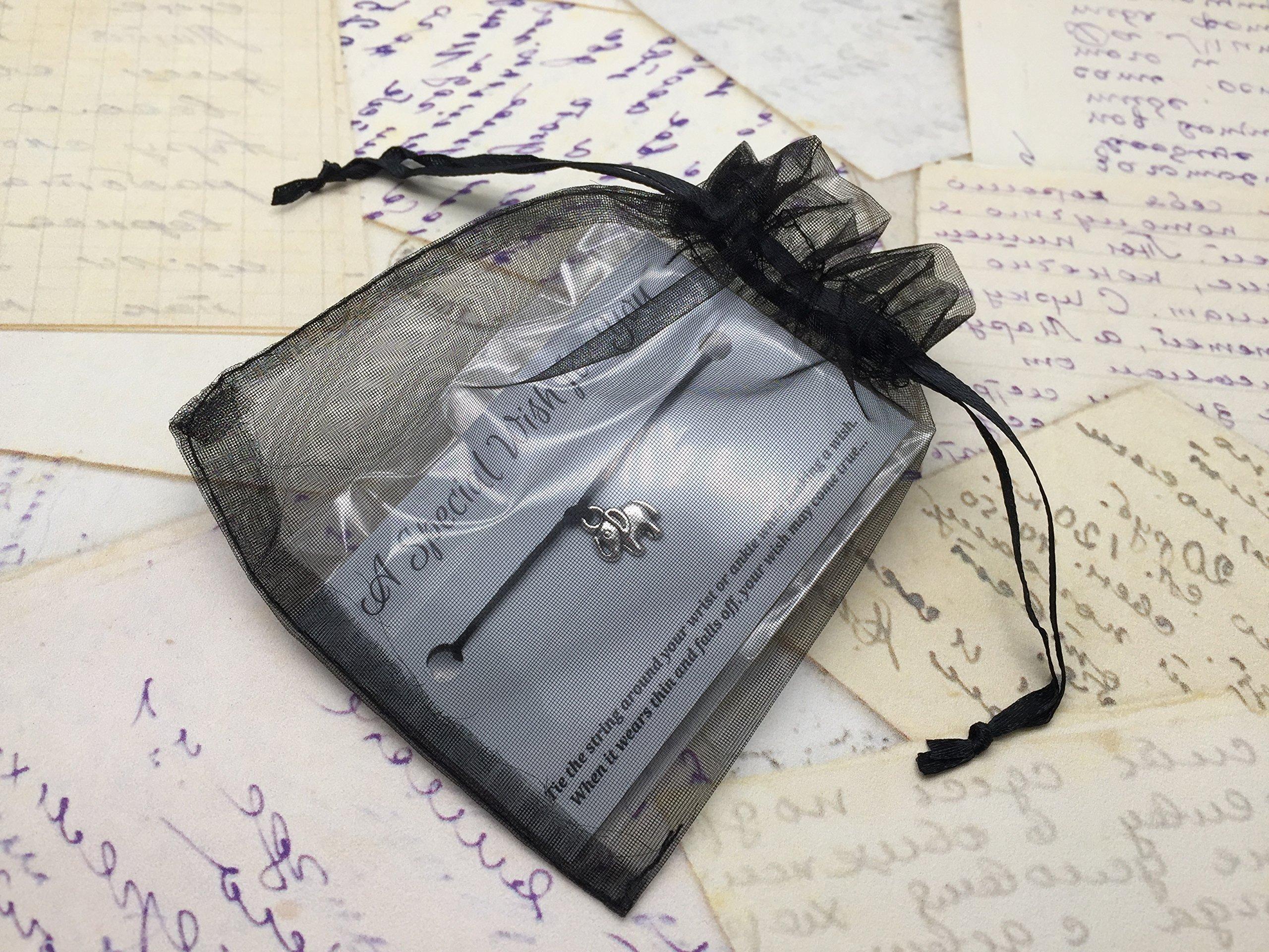 Music Note Black Wish Bracelet – Hemp with Silver Tone Charm on Printed Card – Adjustable – Unisex