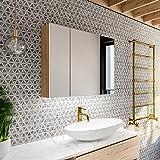 Artforma Armoire pour de Salle de Bain avec Miroir et Éclairage LED avec 3-Porte (70x60x17,4 cm) | 3 décors au Choix | Armoir