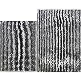 Polyte - Alfombrilla de baño - Chenilla Gruesa de Microfibra superabsorbente - Negro - 51 x 81cm / 43 x 61cm - Pack de 2