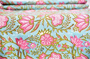 Turquoise Floral Hand Block Printed Garment Voile Fabric Cotton Craft Making Fabric Dress Making Soft Fabric Natural Running Vegetable Color Fabric By Handicraft-Palace