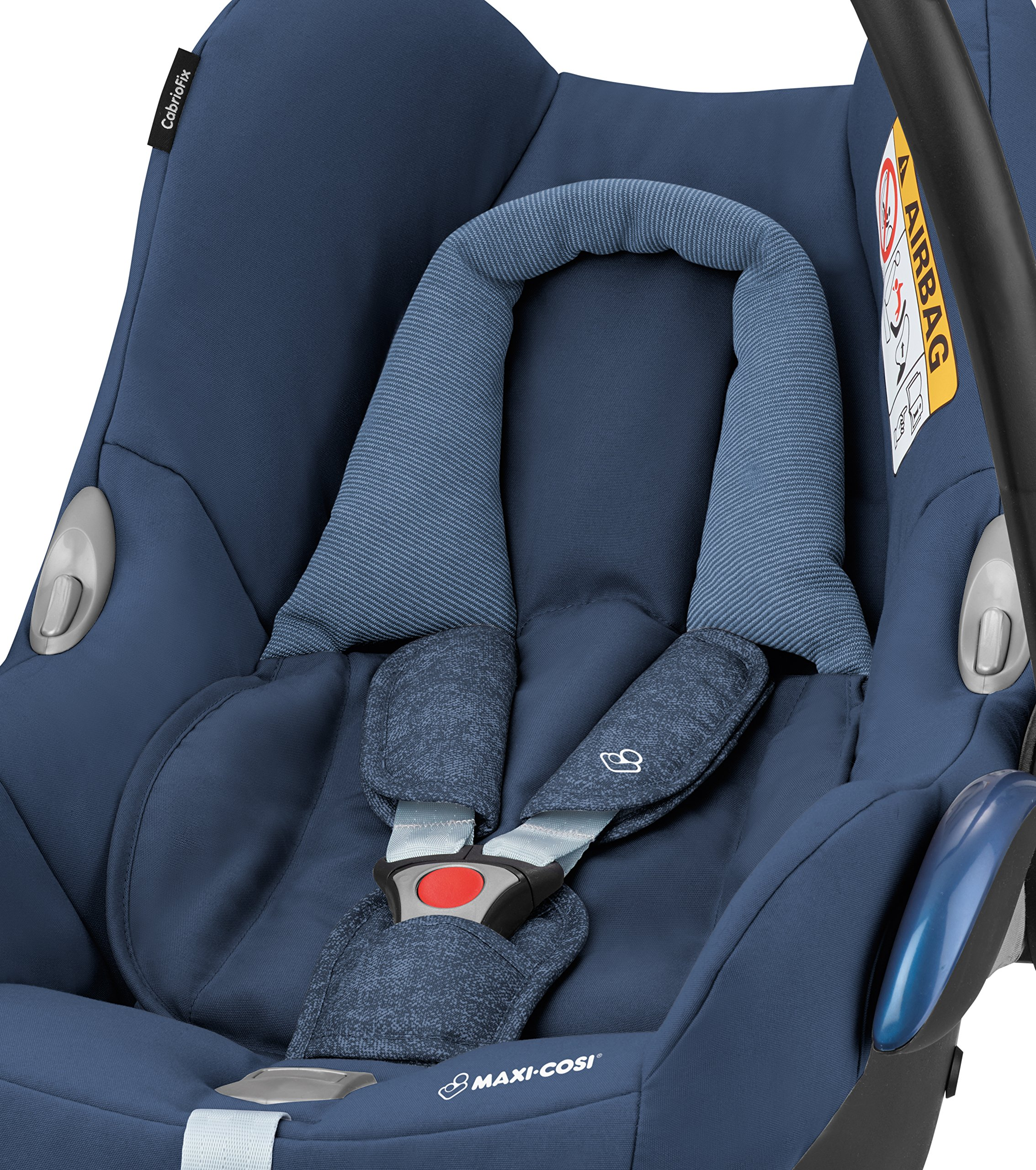 Maxi-Cosi Cabriofix Group 0+ Car Seat, Nomad Blue with EasyFix Car Seat Base, Isofix and Belt Maxi-Cosi Optimal side impact protection: maxi-cost's side protection system technology features in the wings of the car seat to reduce the risk of injury in a side impact collision Click-and-go installation: quick and easy installation with any maxi-cost base unit Flexible travel system: compatible with a variety of pushchairs including quinsy and maxi-cost pushchairs 6