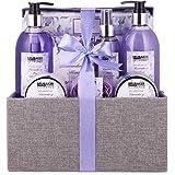 BRUBAKER Cosmetics Bad och Dusch Set Lavender Mint Scent - 12-Delat Presentpaket i Dekorativ Jutebox