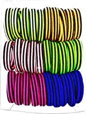 Premium Quality Multi Color Neon Hair elastic Rubber bands for Women and Girls(30 elastic bands)