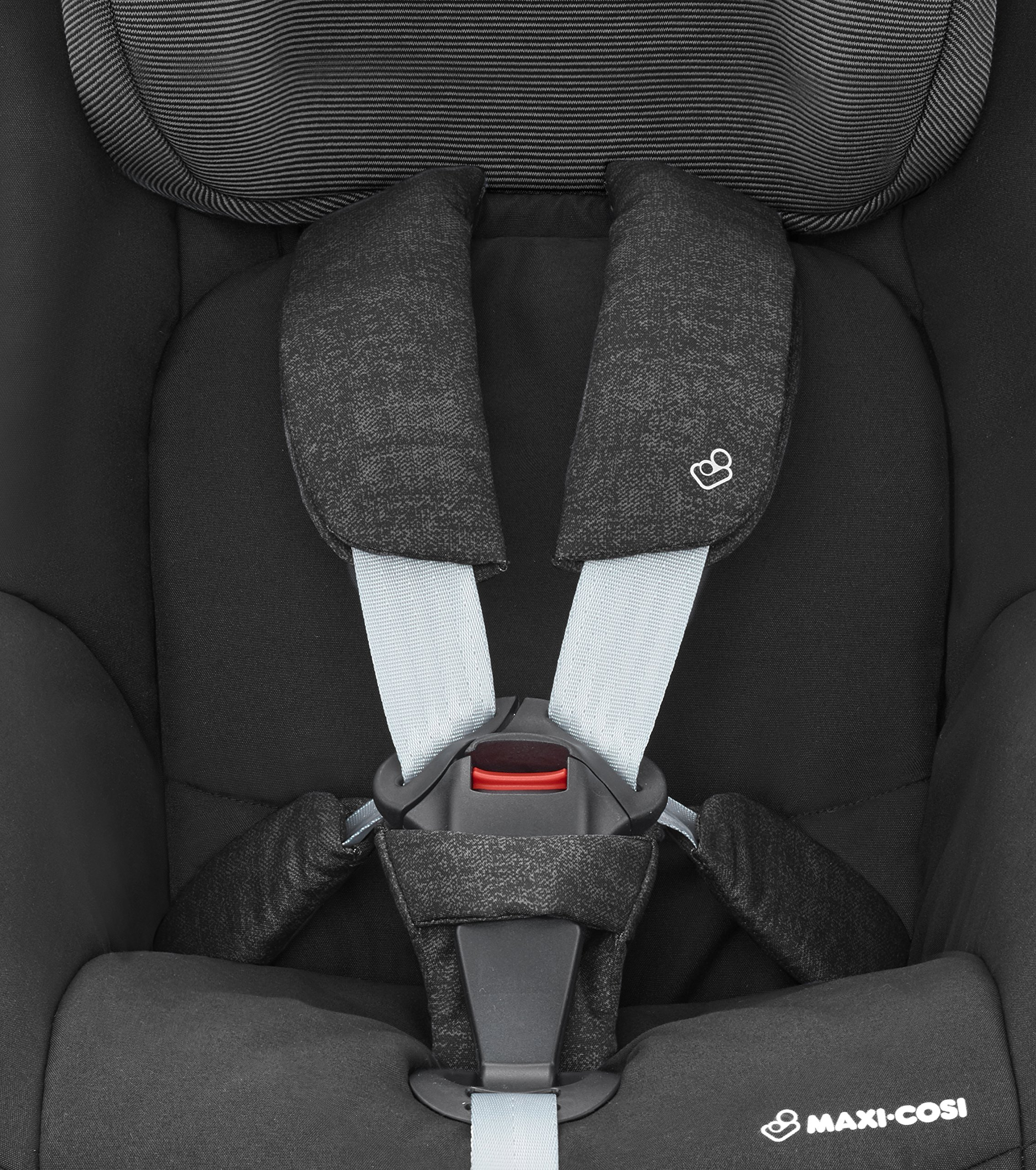 Maxi-Cosi Pearl Toddler Car Seat Group 1, ISOFIX Car Seat, Compact, , 9 Months - 4 Years, 9-18 kg, Nomad Black Maxi-Cosi Interactive visual and audible feedback when the pearl is correctly installed with the maxi-cosi family fix base in the car Spring-loaded, stay open harness to make buckling up your toddler easier as the harness stays out of the way Simultaneous harness & headrest adjustment can be operated with one-hand 9