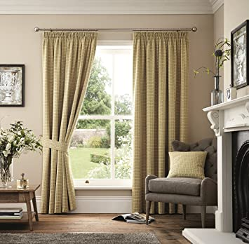Marlowe Woven Jacquard Pencil Pleat Lined Curtains, Natural, 44 x ...