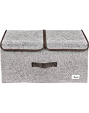 LXOICE Linen Fabric Foldable Cloth Storage Boxes with Lid, Handles, Removable Divider