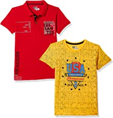 Qube By Fort Collins Boys' Animal Print Regular Fit Polo (Pack of 2)