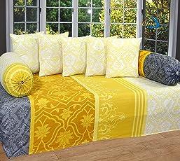 Home Elite 8-Piece 144 TC Cotton Diwan Set - Paisley, Multicolour