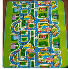 BAYBEE Single Sided Waterproof Play and Crawl Mat with Carry Bag for Babies, 6x5 Inches (Mixed Colour)