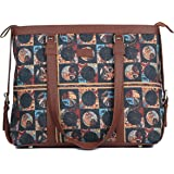 ZOUK Black Printed Handmade Vegan Leather Women's Office Bag for 15.6 inch Laptop with double handles - African Art