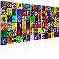 murando Impression sur Toile intissee Abstrait en Couleurs 200x80 cm Tableau 5 Parties Tableaux Decoration Murale Photo Image