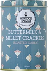 Monsoon Harvest Buttermilk and Millet Crisp Baked Crackers, Roasted Garlic, 100g