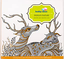 Hobby Ideas Indian Safari Colouring Book For Adults with set of 10 Glitter Gel Pens Free