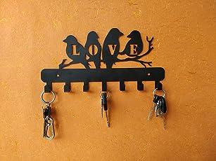 Heavenlykraft Love Birds Metal Key Holder,Standard,Steel,Black