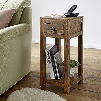 FineBuy Beistelltisch Massiv Holz Sheesham 68 Cm Hoch Wohnzimmer Tisch Mit  Schublade Design Landhaus Stil Couchtisch Natur Produkt Wohnzimmermöbel  Unikat ...
