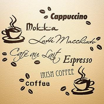 wandfee wandtattoo coffee 80cm x 70cm cafe kaffee kche spruch sprche tassen bohnen amazonde baumarkt - Kuchen Wandtattoo Spruche