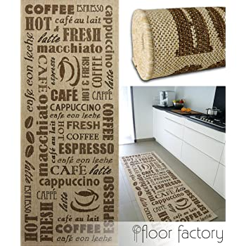 Floor Factory Tapis De Cuisine Coffee Time Beige 80x200 Cm Tapis