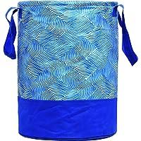 Kuber Industries Laheriya Printed Waterproof Canvas Laundry Bag, Toy Storage, Laundry Basket Organizer 45 L (Blue) CTKTC034625