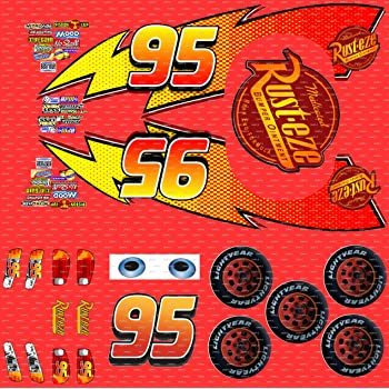 graphic about Lightning Mcqueen Printable Decals identify Lightning McQueen Autos stickers upon 2 A4 sheets Cake Topper